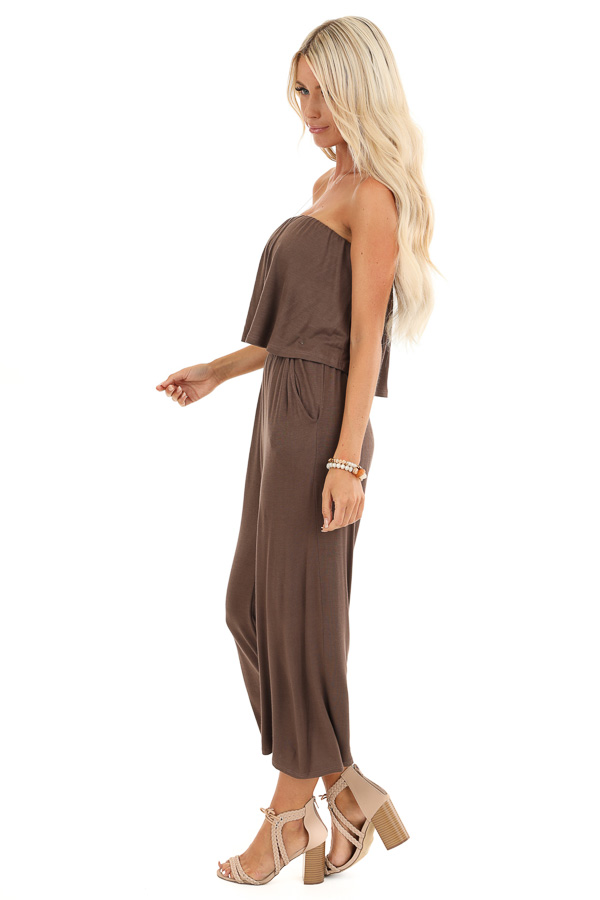 Cocoa Strapless Capri Jumpsuit with Overlay and Pockets side full body