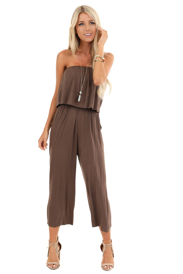 Cocoa Strapless Capri Jumpsuit with Overlay and Pockets front full body