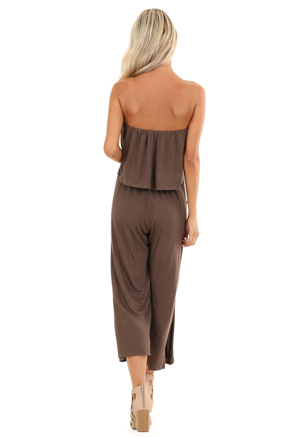 Cocoa Strapless Capri Jumpsuit with Overlay and Pockets back full body