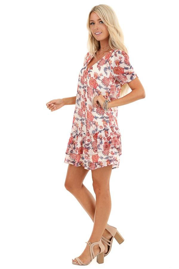Cream Floral Print Mini Dress with Tiered Ruffle Hemline side full body