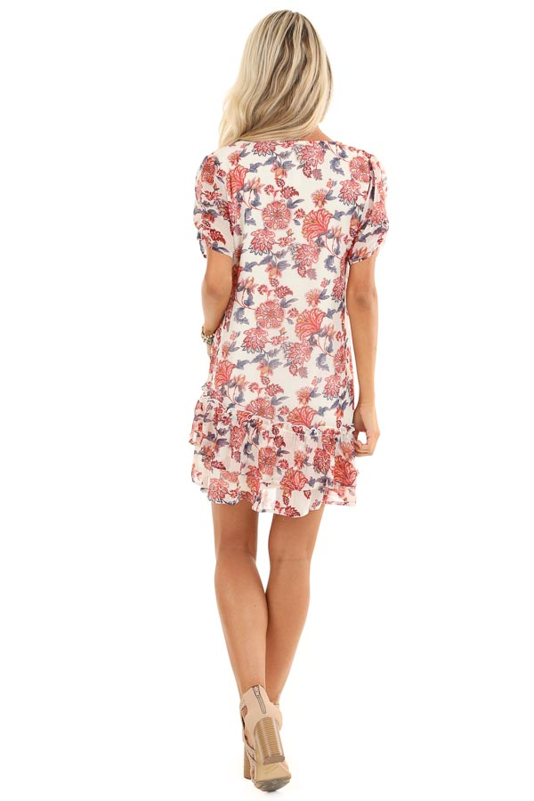 Cream Floral Print Mini Dress with Tiered Ruffle Hemline back full body