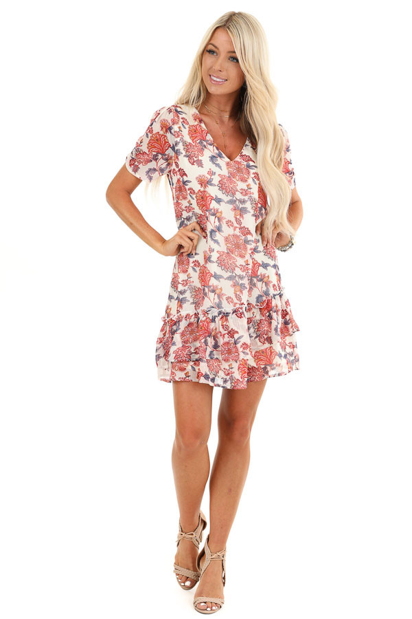 Cream Floral Print Mini Dress with Tiered Ruffle Hemline front full body