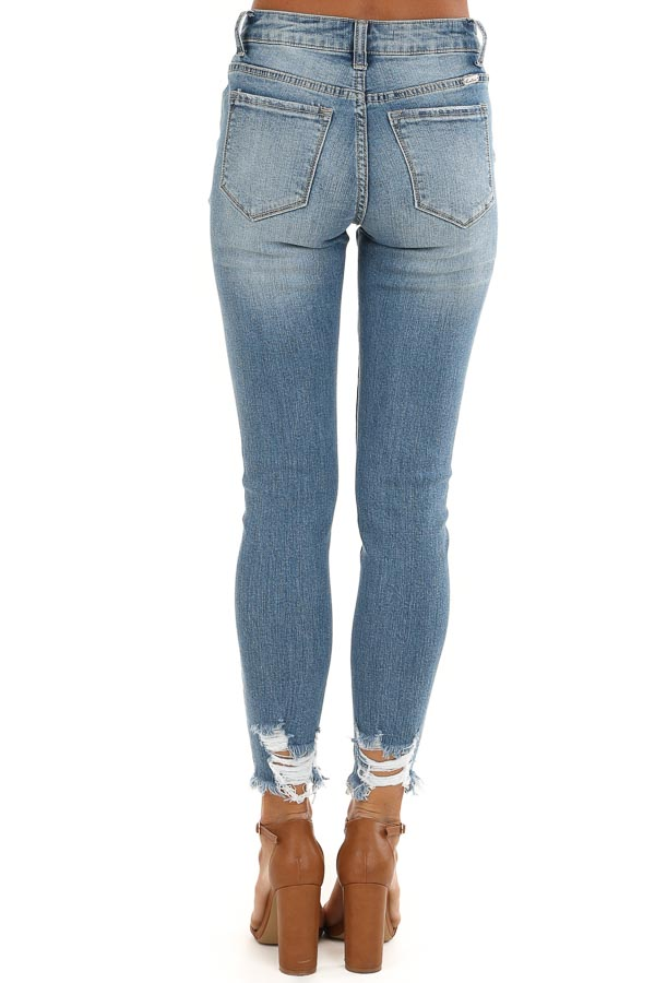 Mid Wash Distressed Skinny Jeans with Pearl and Jewel Detail back view
