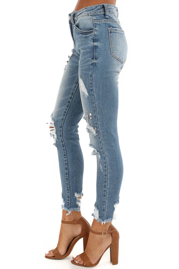 Mid Wash Distressed Skinny Jeans with Pearl and Jewel Detail side view