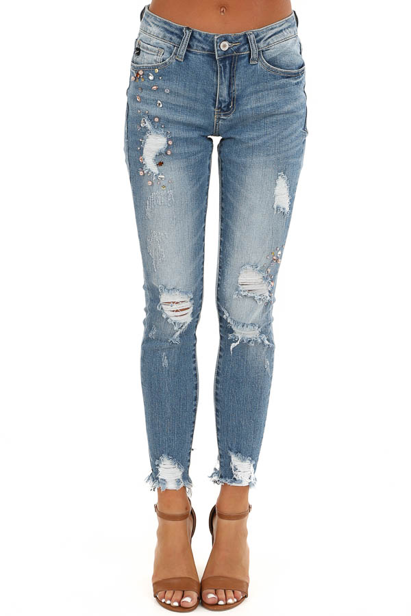Mid Wash Distressed Skinny Jeans with Pearl and Jewel Detail front view