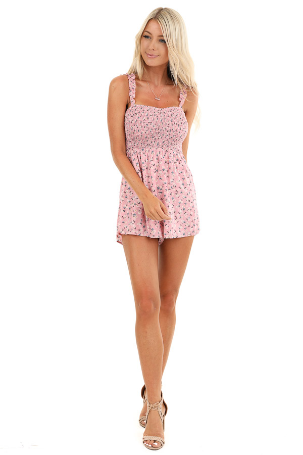 Bubblegum Pink Floral Print Romper with Smocked Bodice front full body