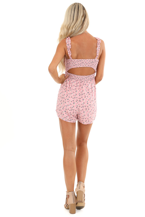 Bubblegum Pink Floral Print Romper with Smocked Bodice back full body
