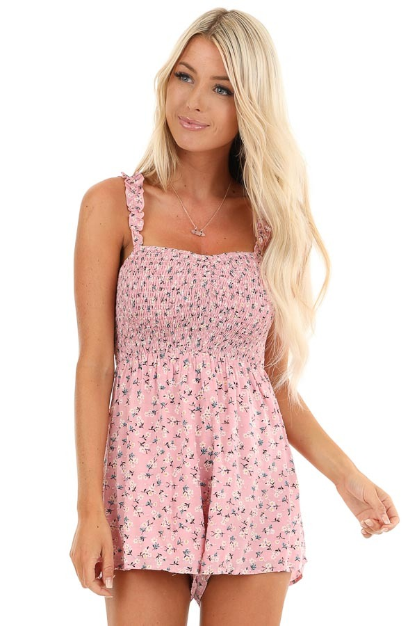 Bubblegum Pink Floral Print Romper with Smocked Bodice front close up