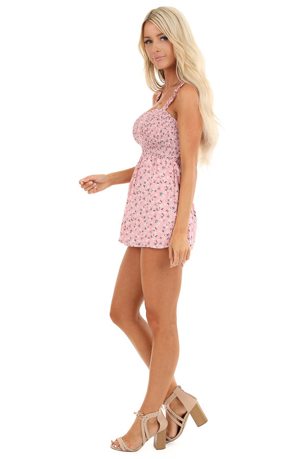 Bubblegum Pink Floral Print Romper with Smocked Bodice side full body