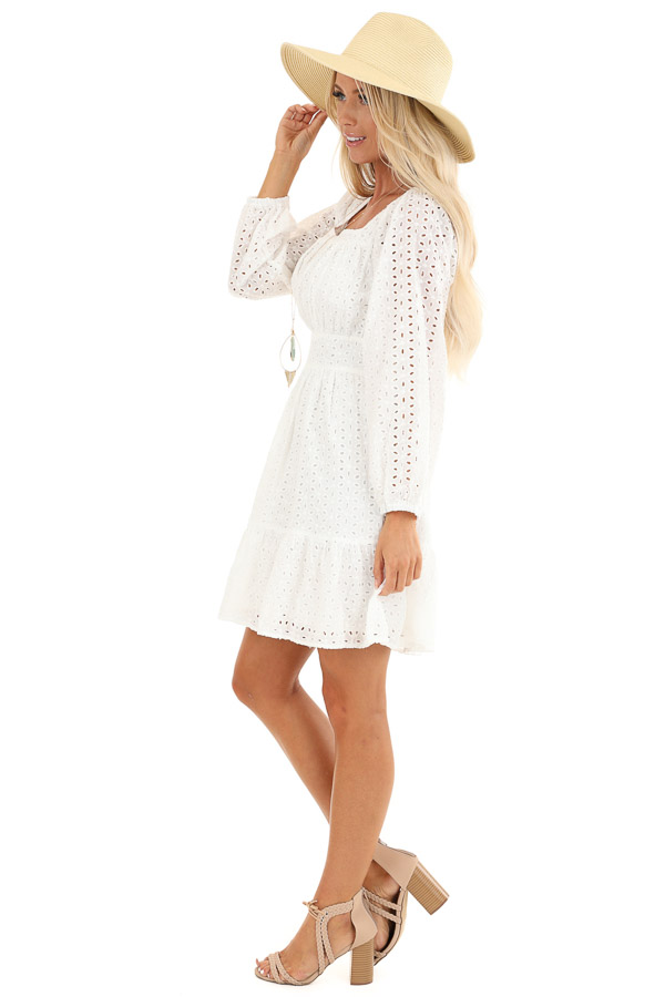 Daisy White Long Sleeve Square Neck Short Eyelet Dress side full body