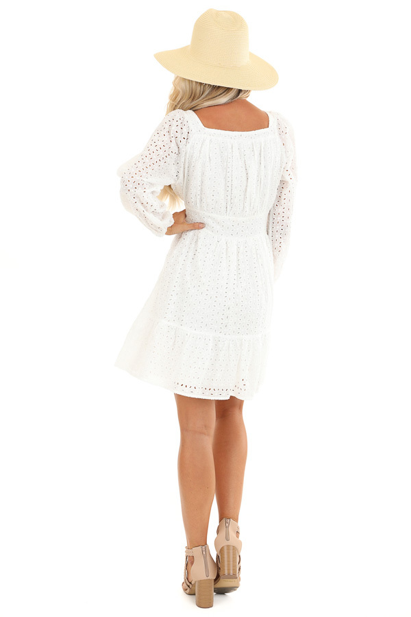 Daisy White Long Sleeve Square Neck Short Eyelet Dress back full body