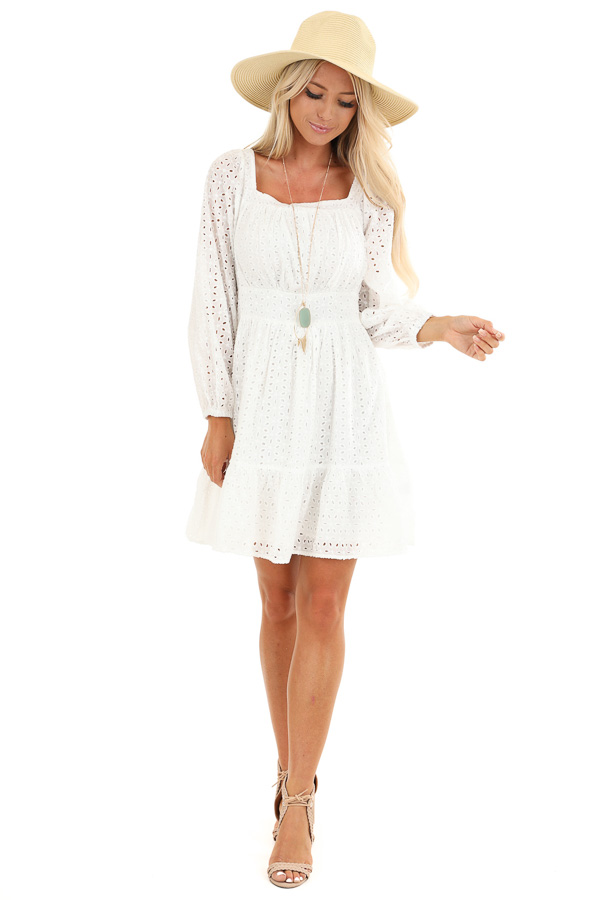 Daisy White Long Sleeve Square Neck Short Eyelet Dress front full body
