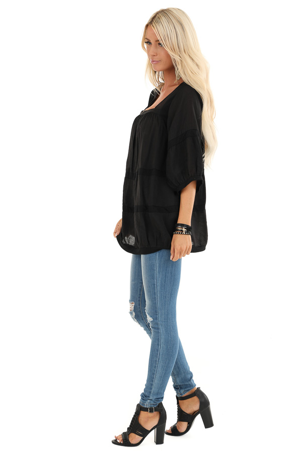 Black 3/4 Sleeves Peasant Top with Square Neckline side full body