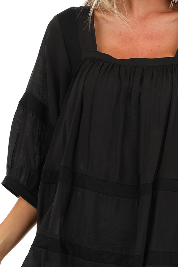 Black 3/4 Sleeves Peasant Top with Square Neckline detail