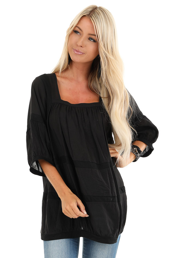 Black 3/4 Sleeves Peasant Top with Square Neckline front close up