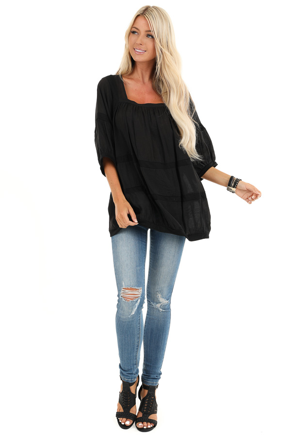 Black 3/4 Sleeves Peasant Top with Square Neckline front full body