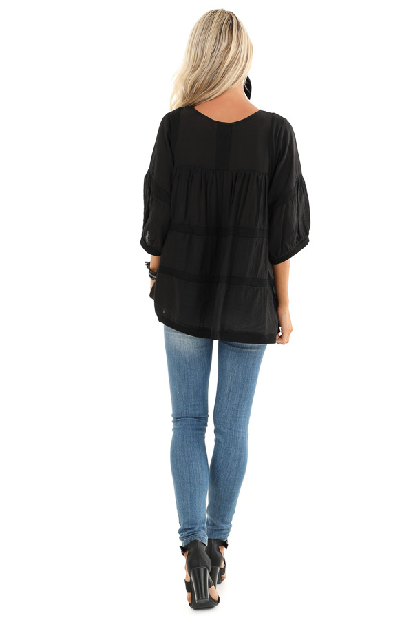Black 3/4 Sleeves Peasant Top with Square Neckline back full body
