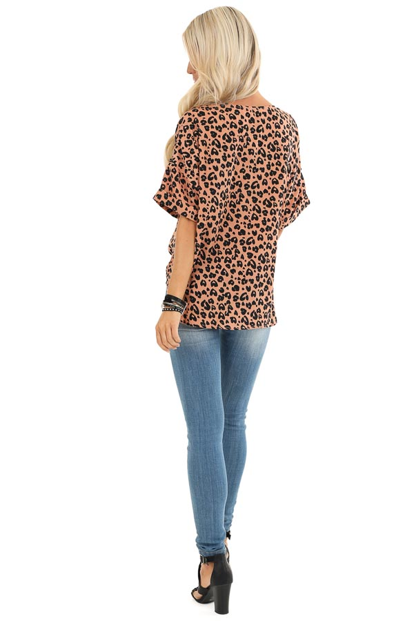 Clay and Ebony Leopard Print Button up Top with Front Tie back full body