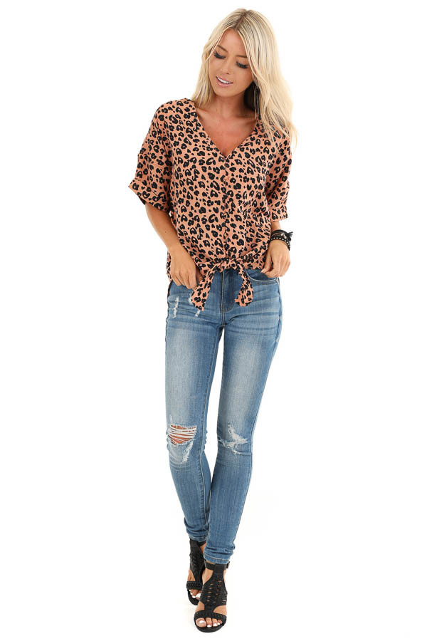 Clay and Ebony Leopard Print Button up Top with Front Tie front full body
