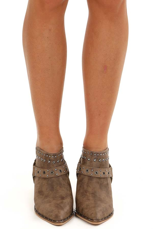 Antique Taupe Pointed Toe Mules with Studded Details front view