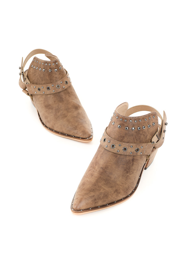 Antique Taupe Pointed Toe Mules with Studded Details
