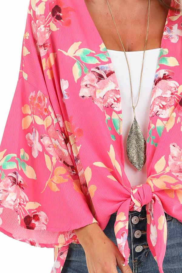 Hot Pink Floral Print Open Front Kimono with Side Slits detail