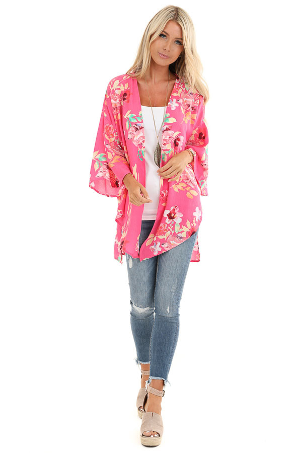 Hot Pink Floral Print Open Front Kimono with Side Slits front full body