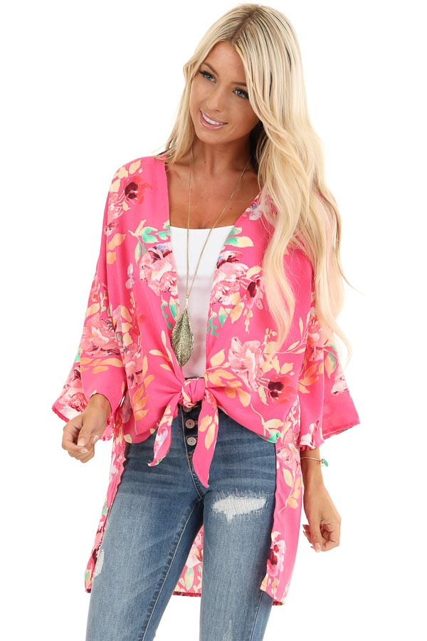 Hot Pink Floral Print Open Front Kimono with Side Slits front close up