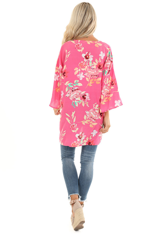Hot Pink Floral Print Open Front Kimono with Side Slits back full body