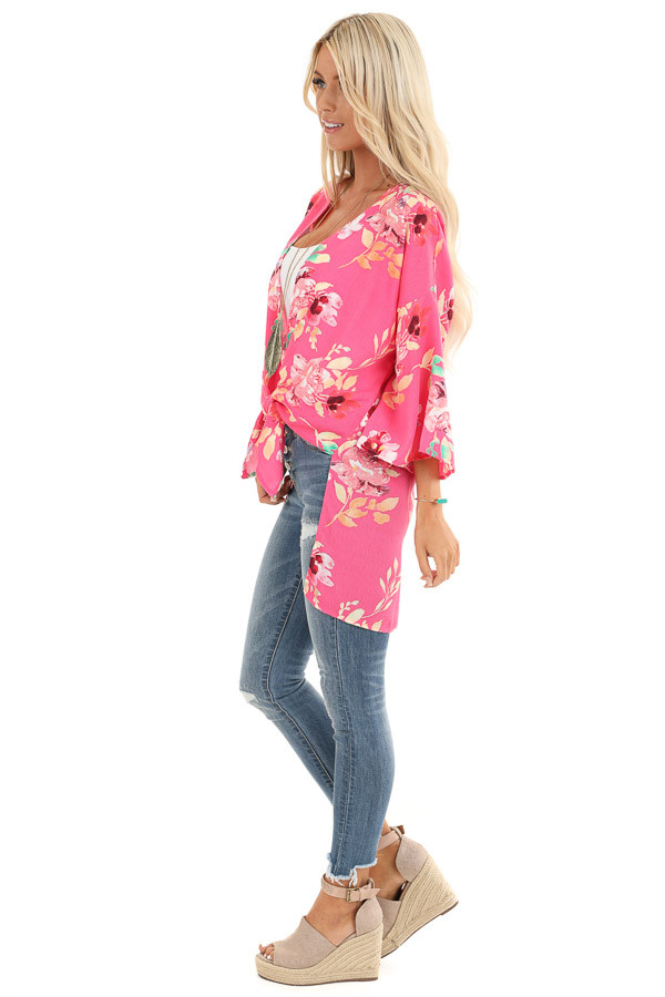 Hot Pink Floral Print Open Front Kimono with Side Slits side full body