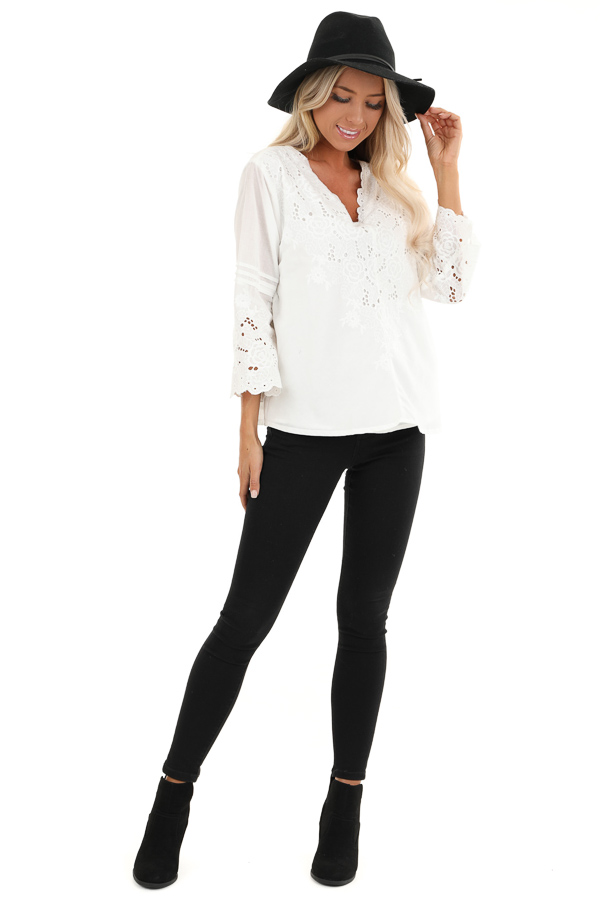 Coconut White V Neck Top with Eyelet Lace Details front full body