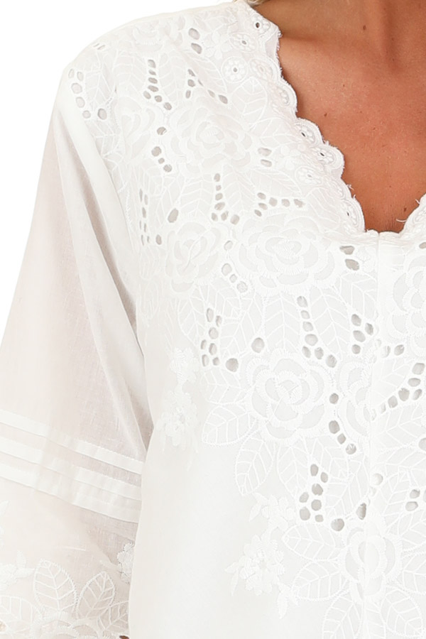 Coconut White V Neck Top with Eyelet Lace Details detail