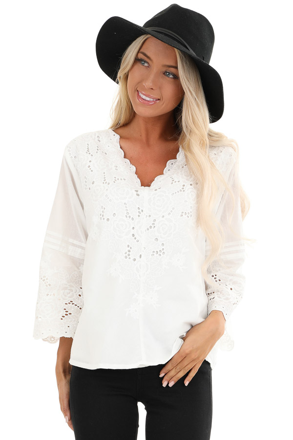 Coconut White V Neck Top with Eyelet Lace Details front close up