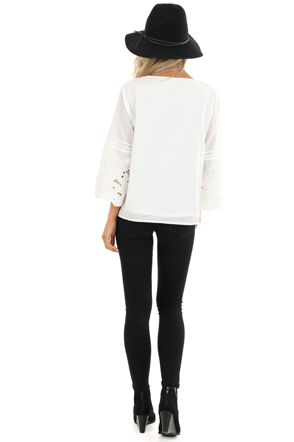 Coconut White V Neck Top with Eyelet Lace Details back full body