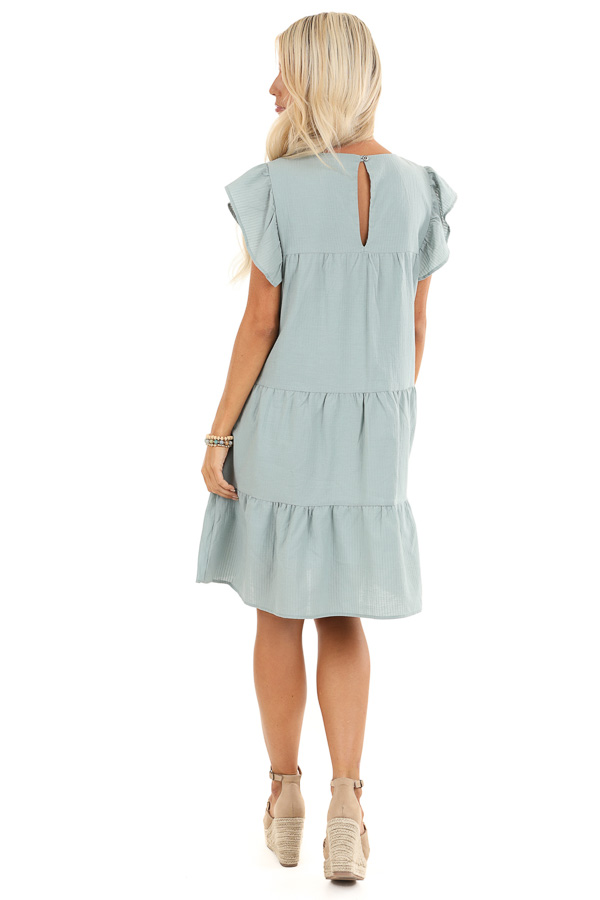 Antique Mint Tiered Babydoll Dress with Short Ruffle Sleeves back full body