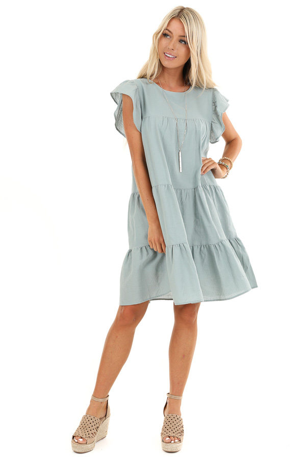 Antique Mint Tiered Babydoll Dress with Short Ruffle Sleeves front full body