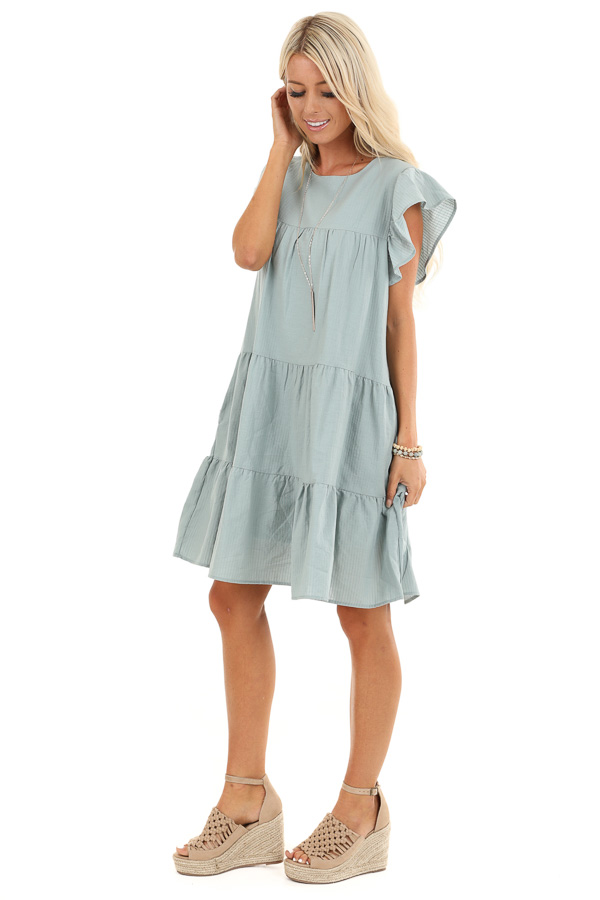 Antique Mint Tiered Babydoll Dress with Short Ruffle Sleeves side full body