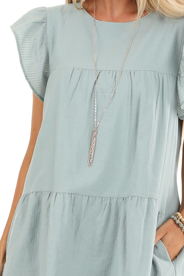 Antique Mint Tiered Babydoll Dress with Short Ruffle Sleeves detail