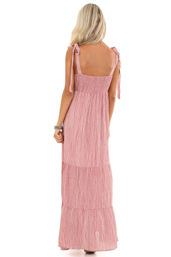 Blush Two Tone Smocked Maxi Dress with Shoulder Ties back full body
