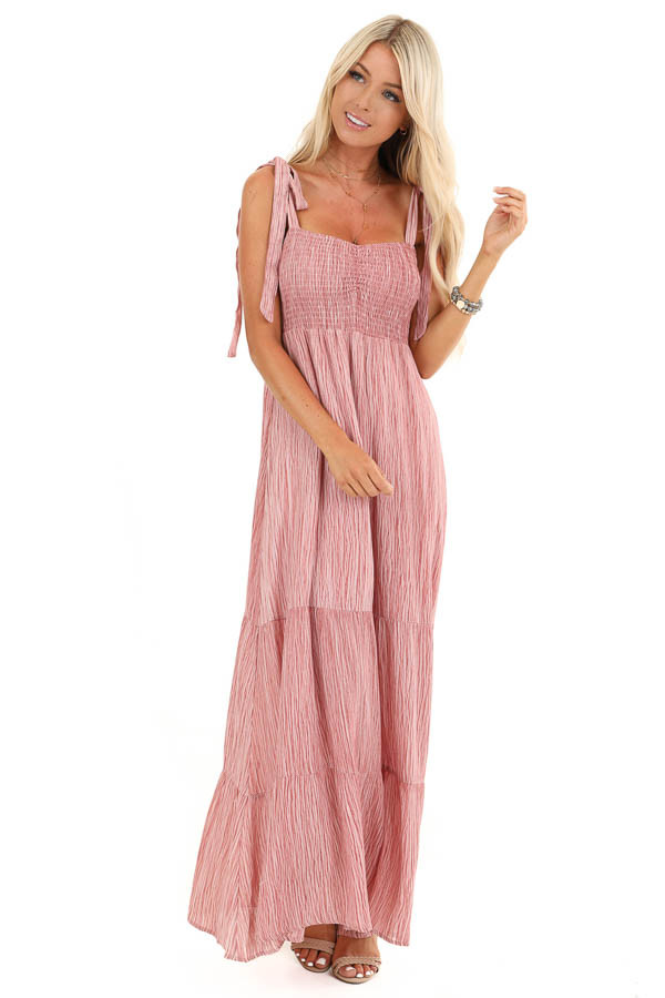 Blush Two Tone Smocked Maxi Dress with Shoulder Ties front full body