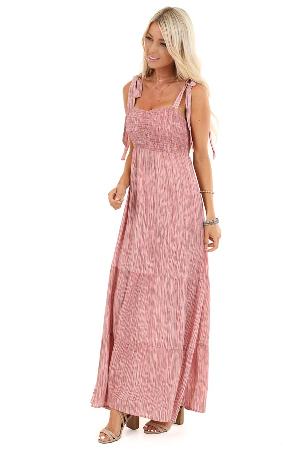 Blush Two Tone Smocked Maxi Dress with Shoulder Ties side full body