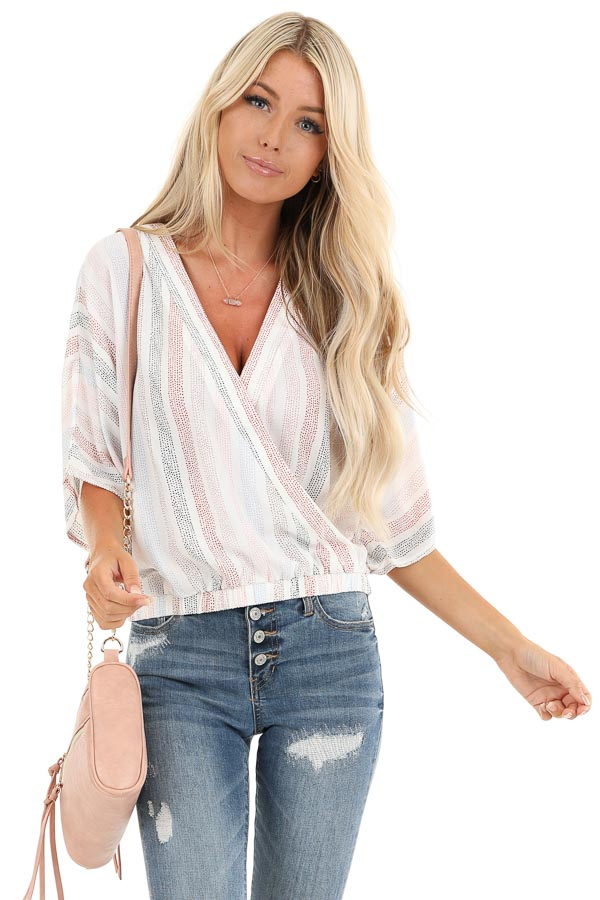 Ivory Multicolor Striped Short Sleeve Surplice Top front close up