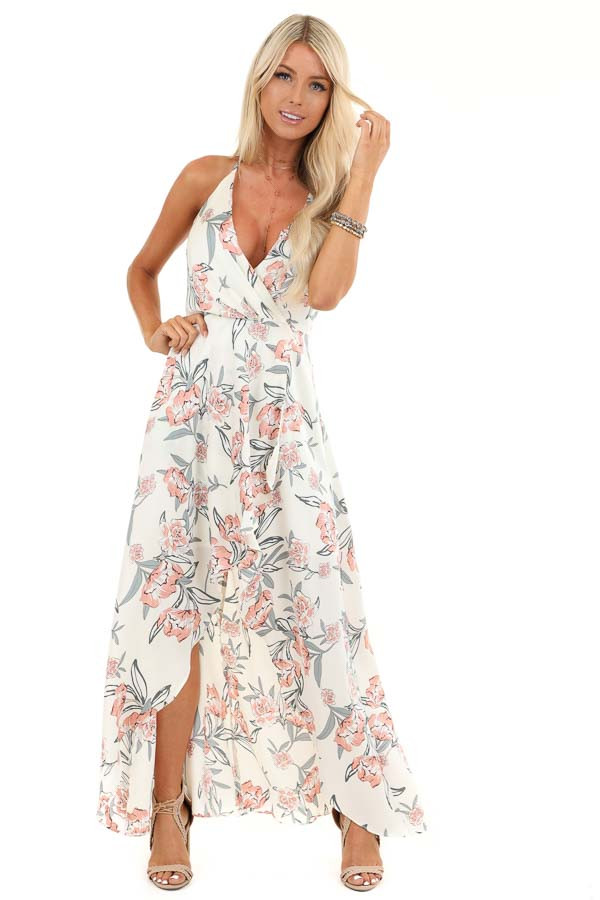 Ivory Floral Print Backless Maxi Dress with Crossover Hem front full body