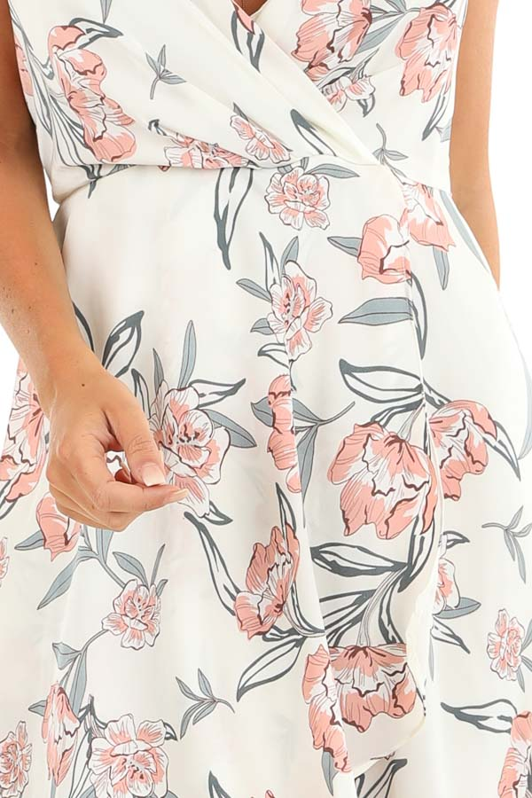 Ivory Floral Print Backless Maxi Dress with Crossover Hem detail