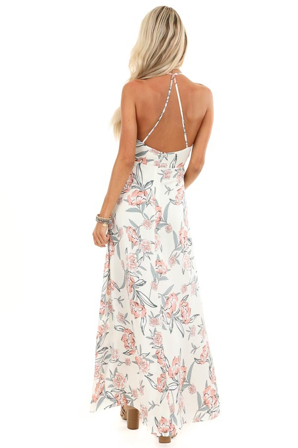 Ivory Floral Print Backless Maxi Dress with Crossover Hem back full body