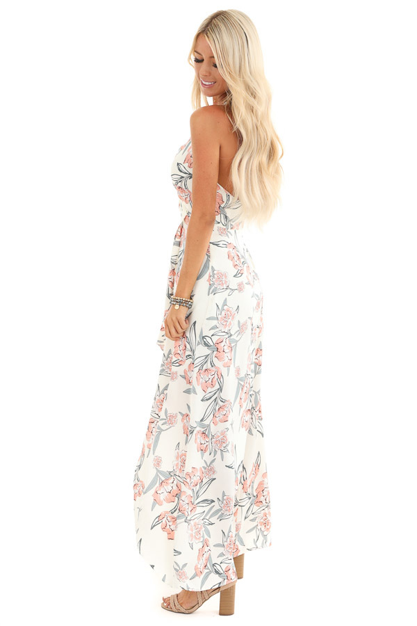 Ivory Floral Print Backless Maxi Dress with Crossover Hem side full body