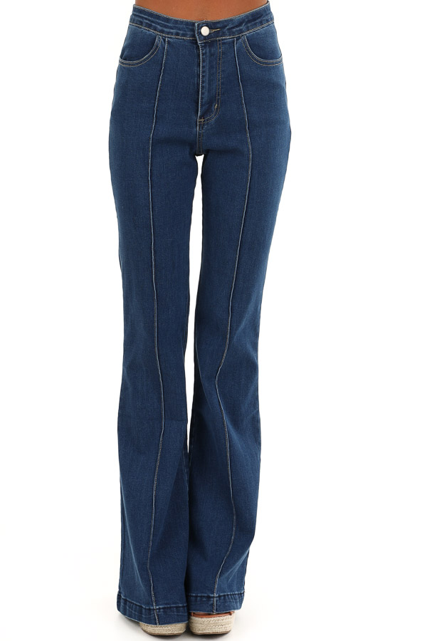 Denim Blue Super High Waisted Stretchy Flare Jeans front view