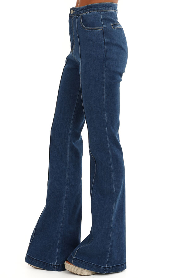 Denim Blue Super High Waisted Stretchy Flare Jeans side view