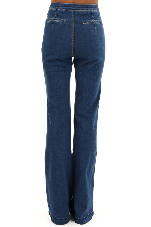 Denim Blue Super High Waisted Stretchy Flare Jeans back view