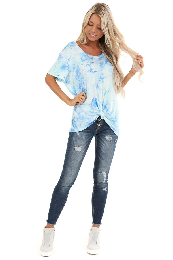 Sky Blue and Aqua Tie Dye Short Sleeve Top with Front Tie front full body
